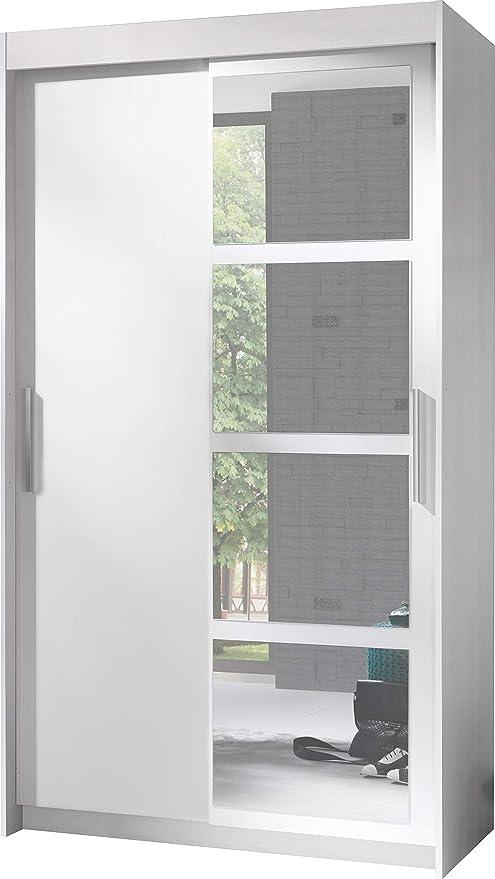 Armoire 2 Portes Coulissantes Avec Miroir Nero Largeur 120cm Hauteur 216cm Profondeur 60cm Blanc Amazon Fr Cuisine Maison
