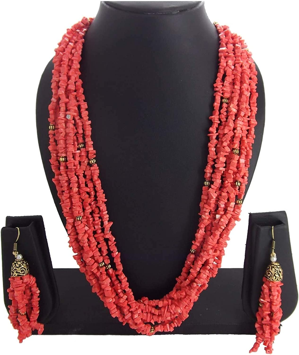 Areum 9blings Womens Christmas Collection Multistrand Coral Gold Plated Necklace Set