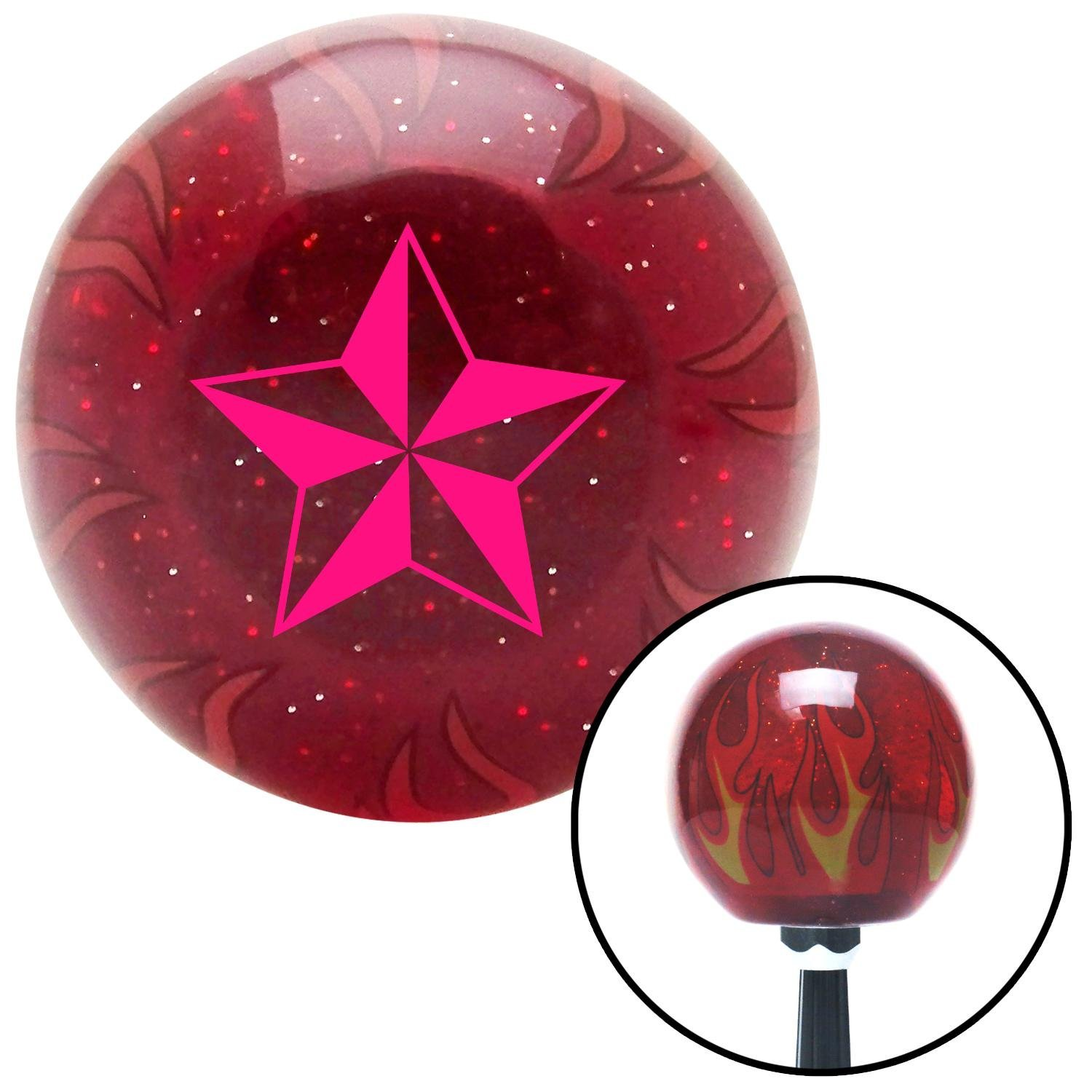 American Shifter 241871 Red Flame Metal Flake Shift Knob with M16 x 1.5 Insert Pink Tattoo Star Wide