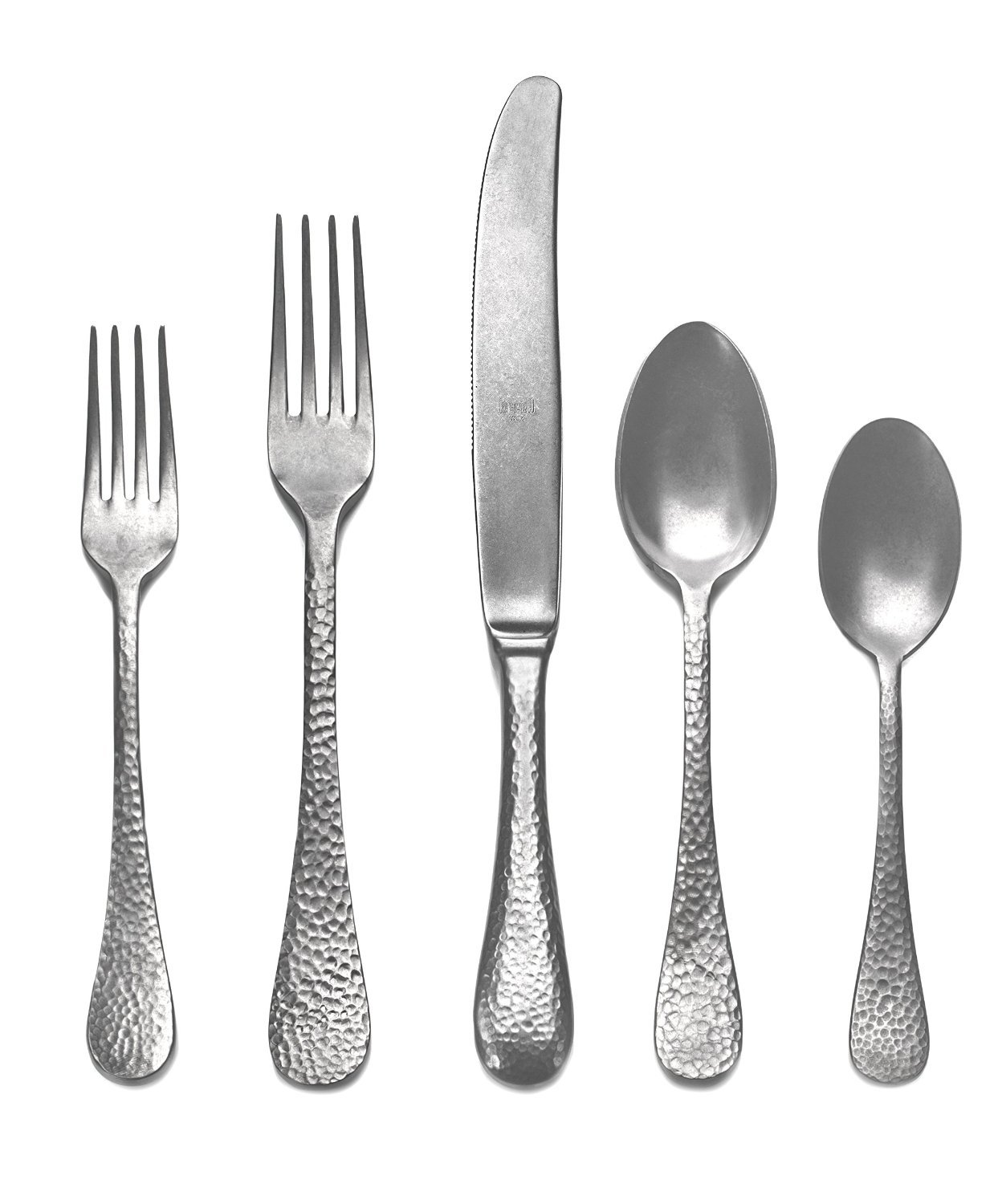 Mepra Epoque 5 Piece Place Setting, Pewter - Enhance your dining experience with this beautiful Italian flatware!  Made in Italy with the highest quality of 18/10 stainless steel 40 mm thick; Durable and ergonic Knives have double serration for a durable sharpness - kitchen-tabletop, kitchen-dining-room, flatware - 71Jwm2icbzL -