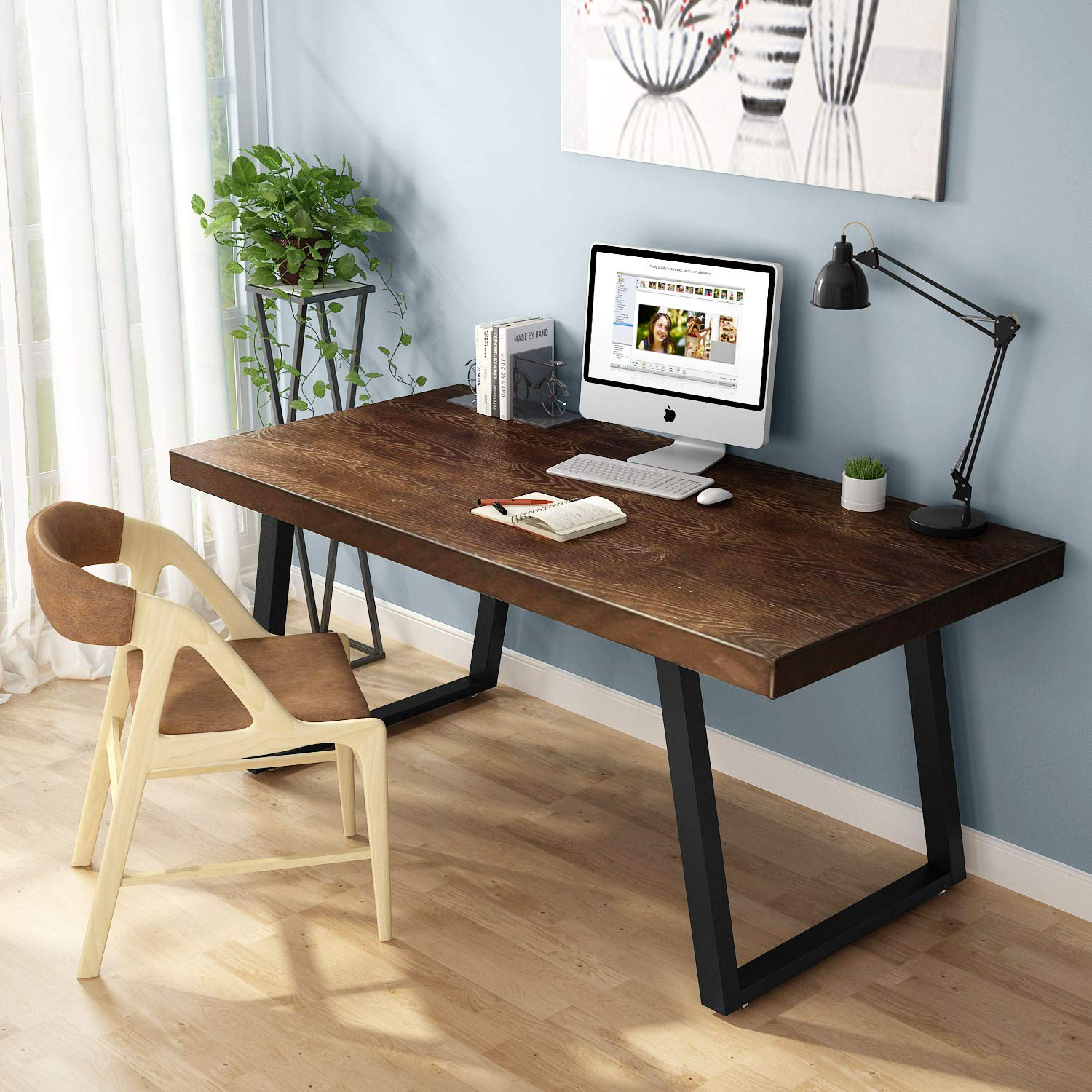Tribesigns 55'' Rustic Computer Desk, Solid Wood Industrial Desk with Heavy-Duty Slanted Metal Base, Simple Retro Style Office Desk Workstation for Home Office (Espresso) by Tribesigns
