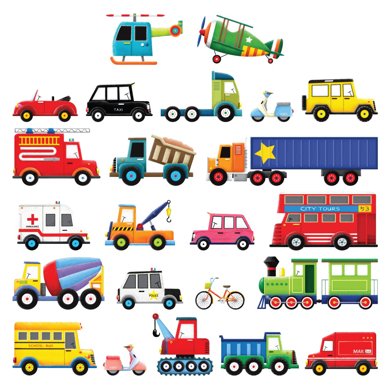 Decowall DS-8004 27 Transports Kids Wall Stickers Wall Decals Peel and Stick Removable Wall Stickers for Kids Nursery Bedroom Living Room (Small)