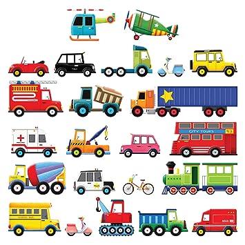 Decowall DS-8004 27 Transporte Autos Fahrzeuge Wandtattoo Wandsticker  Wandaufkleber Wanddeko für Wohnzimmer Schlafzimmer Kinderzimmer (Klein)