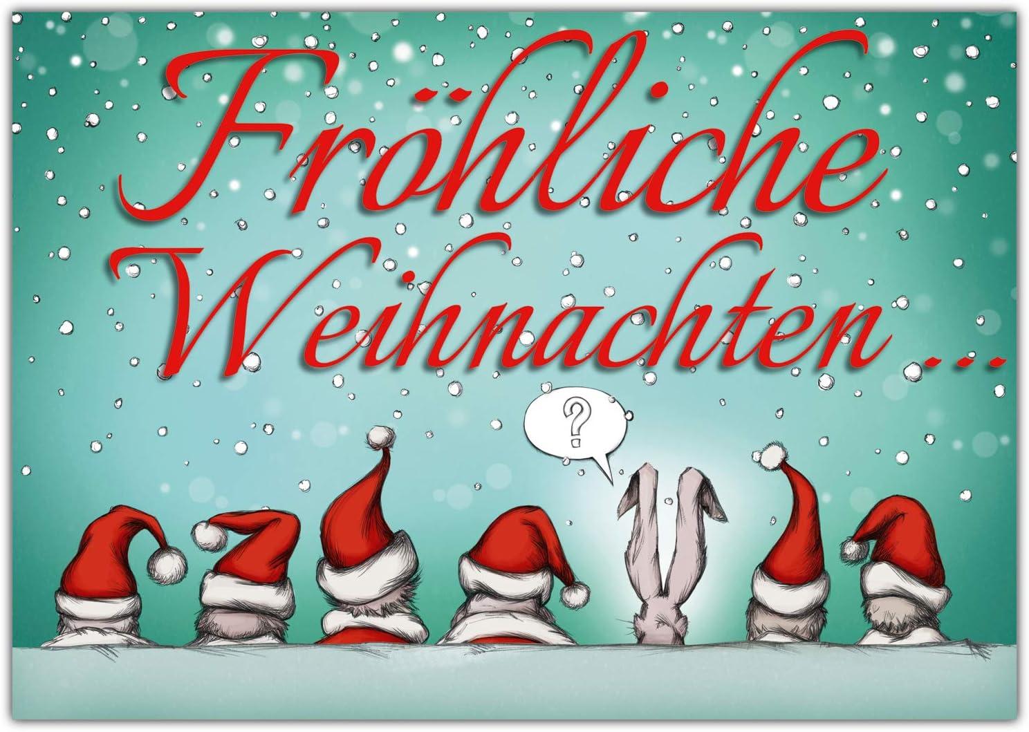 A4 XXL Weihnachtskarte WEIHNACHTSMÜTZEN mit Umschlag - lustige Klappkarte  für Kollegen Freunde Verwandte - Frohe Weihnachten Karte von BREITENWERK