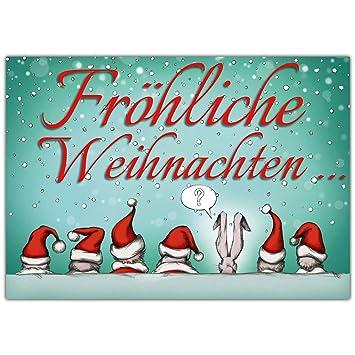 Weihnachtsgrüße Freunde.A4 Xxl Weihnachtskarte Weihnachtsmützen Mit Umschlag Lustige