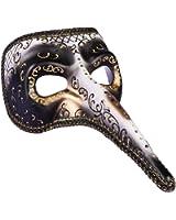 White Black and Gold Long Nose Masquerade Men Mask