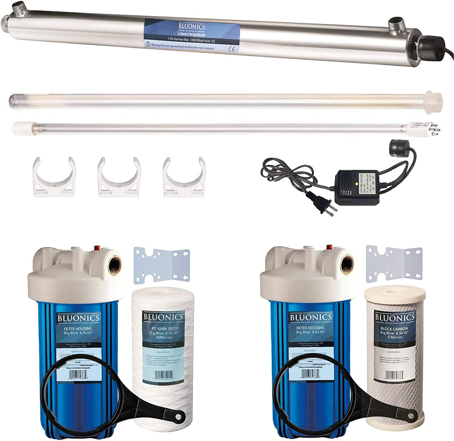 55W UV Ultraviolet Light + Sediment & Carbon Well Water Filter Purifier System > 12 GPM UV Sterilizer with Big Blue Size 4.5