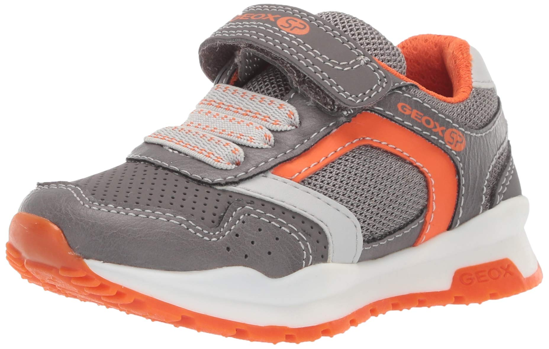 Geox Coridan Boy 6 SP Velcro Sneaker, Grey/Orange, 29 Medium US Little Kid