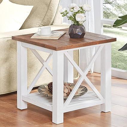 Amazon.com: Furnichoi Farmhouse Wood End Table for Living Room ...
