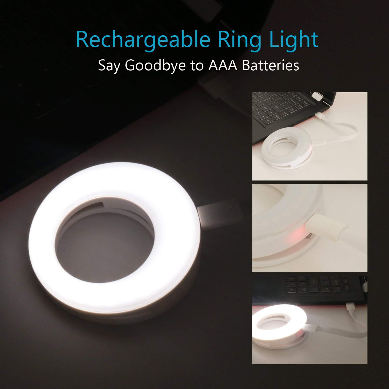 ring light for camera rechargable battery selfie led