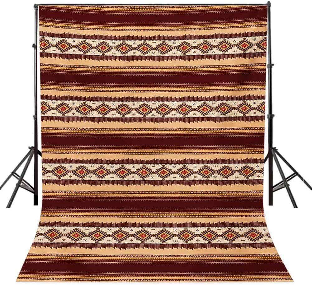 Native Tribal Indigenous Pattern Primitive Country Theme Background for Party Home Decor Outdoorsy Theme Vinyl Shoot Props Maroon Peach Beige Native American 10x15 FT Photography Backdrop