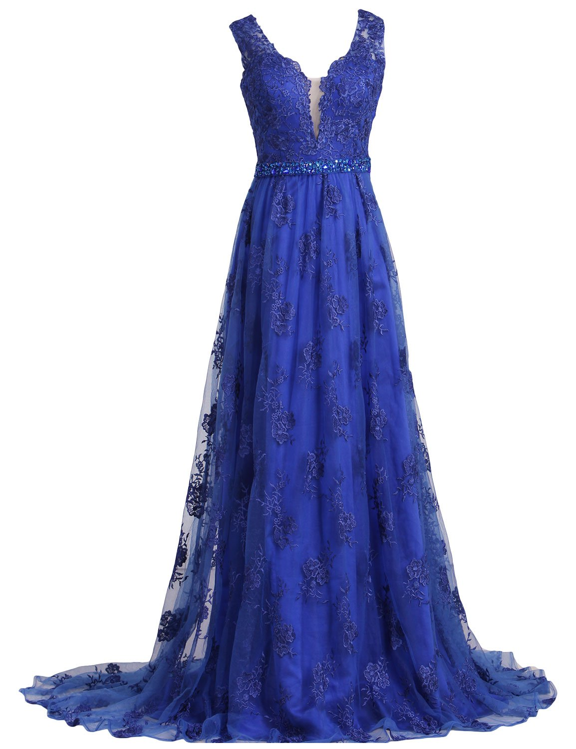 SeasonMall Womens Prom Dresses 2016 Lace V-Neck A Line Sleeveless Sweep Train With Beading Dress Size 0 Dark Royal Blue by SeasonMall (Image #1)
