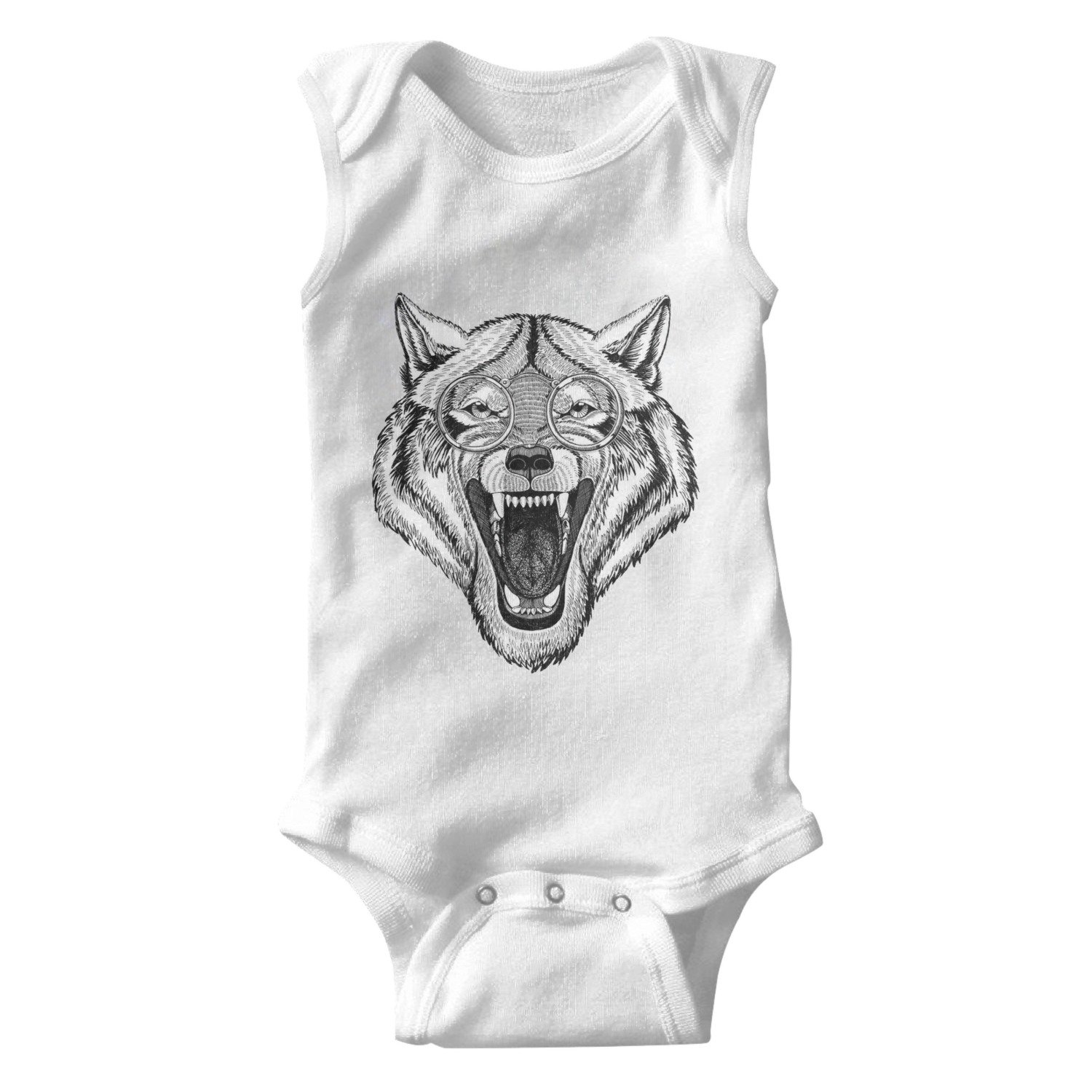 Hippie Hipster Wolf Wearing Glasses Angry Wolf Unisex Baby Cotton Sleeveless Toddler Clothes Baby Onesies White by lsawdas