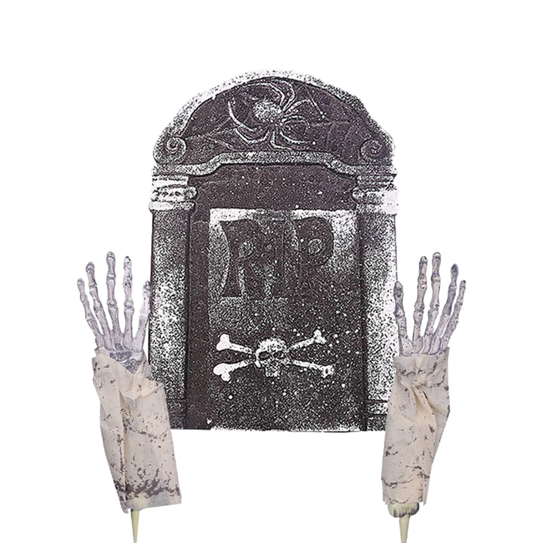 Coxeer 2PCS Halloween Hand Creative Scary Bloody Hand Joke Toy Halloween Prop with Tombstone Decor
