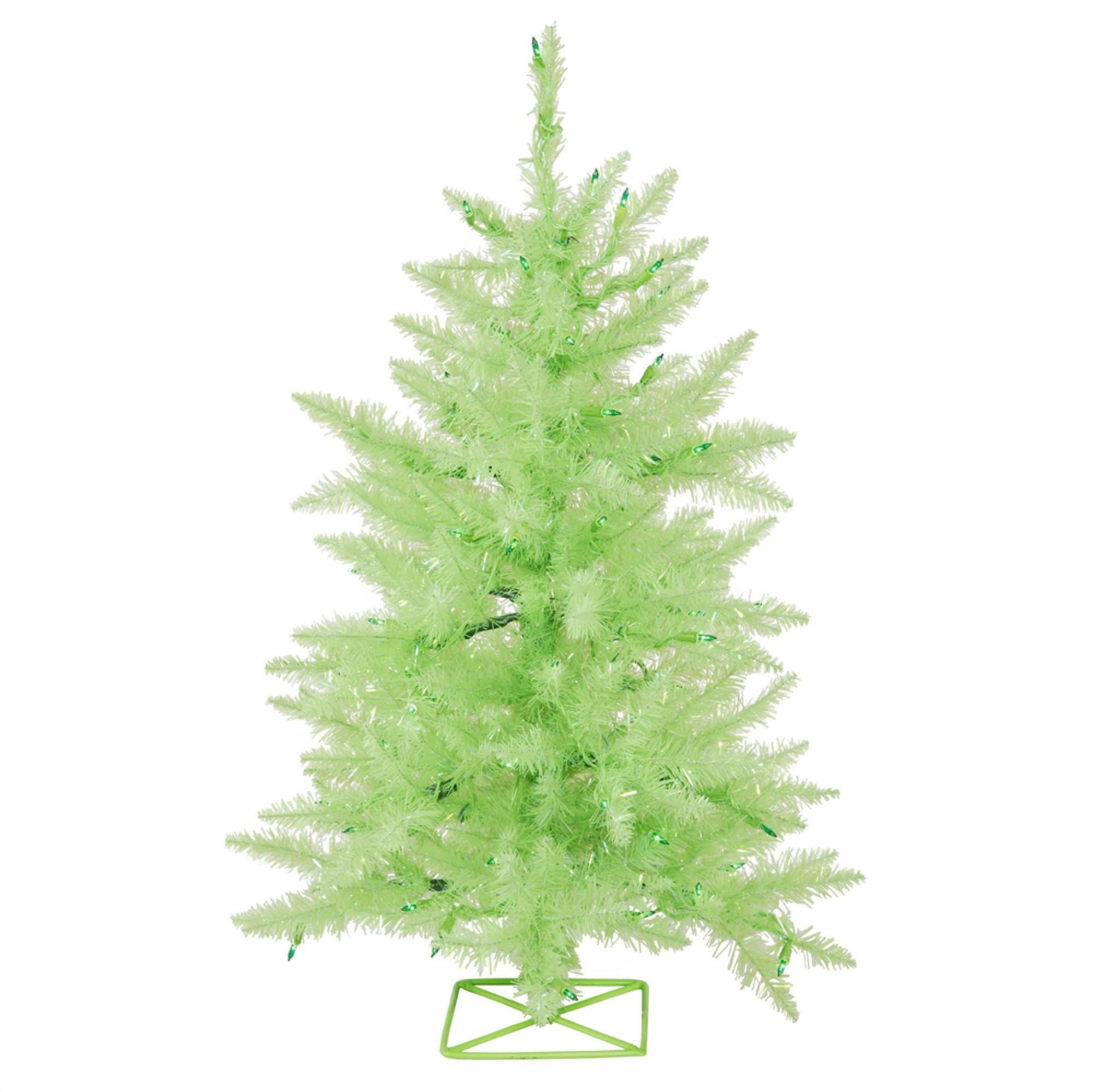 Artificial Christmas Tree. Fake 2ft Xmas Lime Green Fir Classic Pine Shape. Fully Decorated. Compact, With Lush Branches & Natural Look. Great For Indoor Holiday Season Party Decor. Festive Mood.