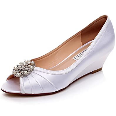 Merveilleux LUXVEER White Wedding Shoes With Pearl Rhinestones,Low Heels Wedge 2  Inch EU35