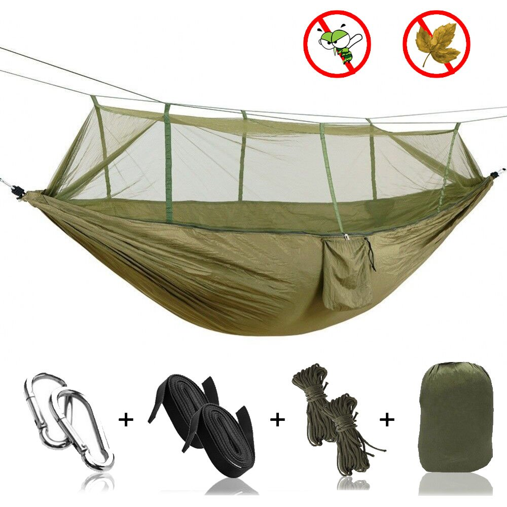 Portable Outdoor Fabric Camping Hanging Hammock Mosquito Net Parachute Bed Commodities Are Available Without Restriction Bedding Home Textile