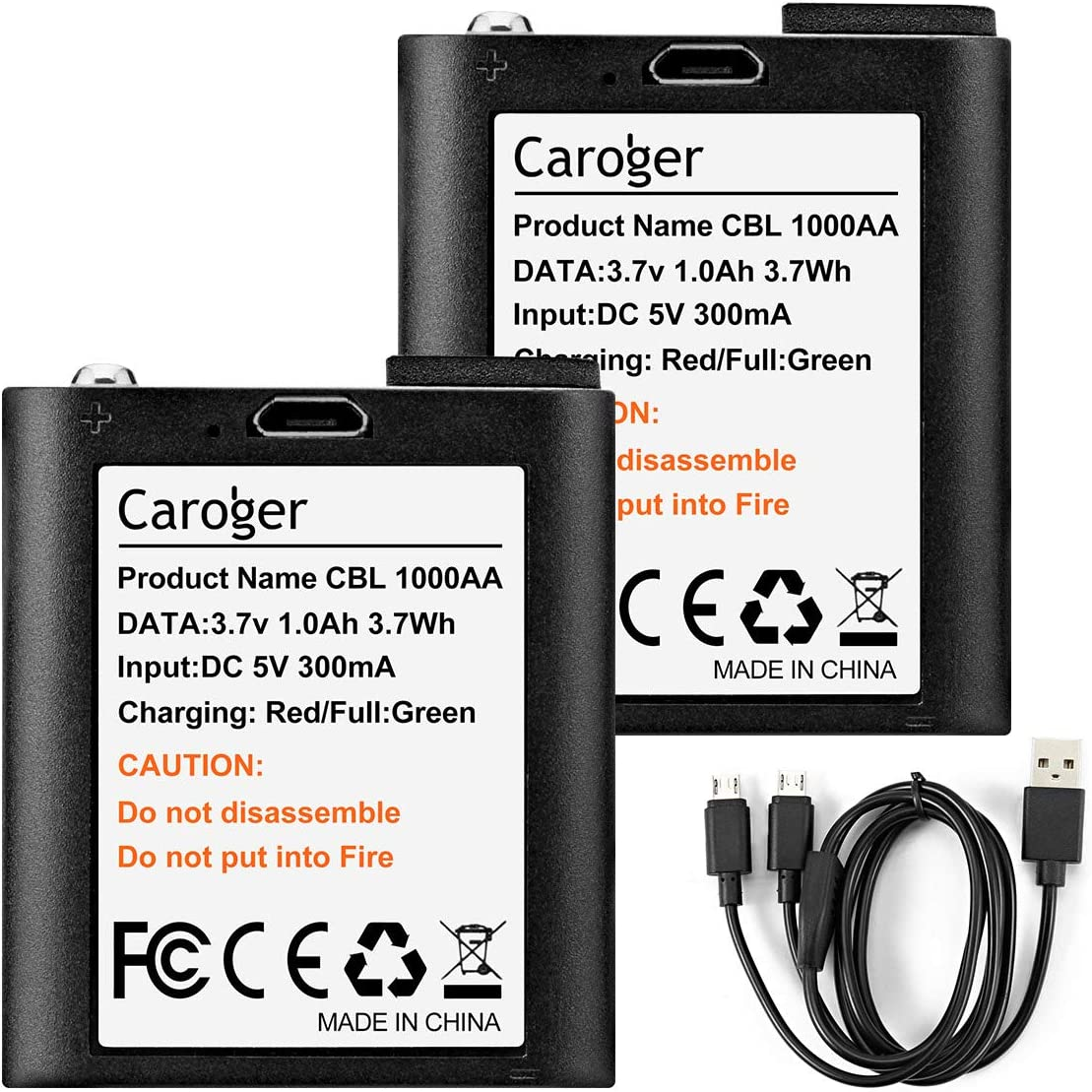 Caroger Two Way Radio Batteries 3AA Rechargeable Li-ion Battery with USB Charging Cable 3.7V 1000mAh Suitable for Walkie Talkies 628/638/880/FC200 (2 Pack)