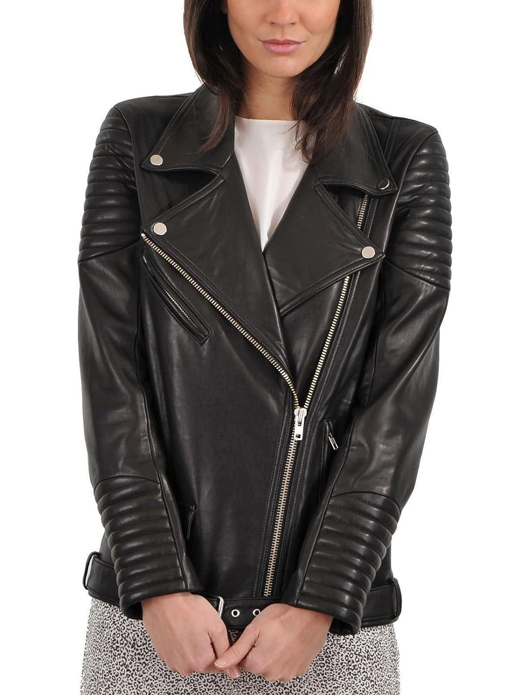 Black Zoha Collection Women's Lambskin Leather Jacket Bomber Biker Motorcycles Jacket