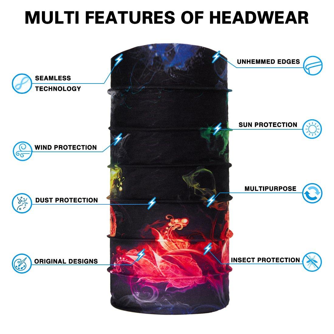 TUONROAD 3D Printed Blue Leaves Magic Headband Sweatband Custom SPF Scarf Tube Bandana Multifunctional Headwear for Snowboarding Skiing Riding