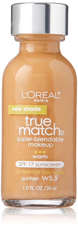 L'Oreal Paris Makeup True Match Super-Blendable Liquid Foundation, Suntan W5.5, 1 Fl Oz,1 Count
