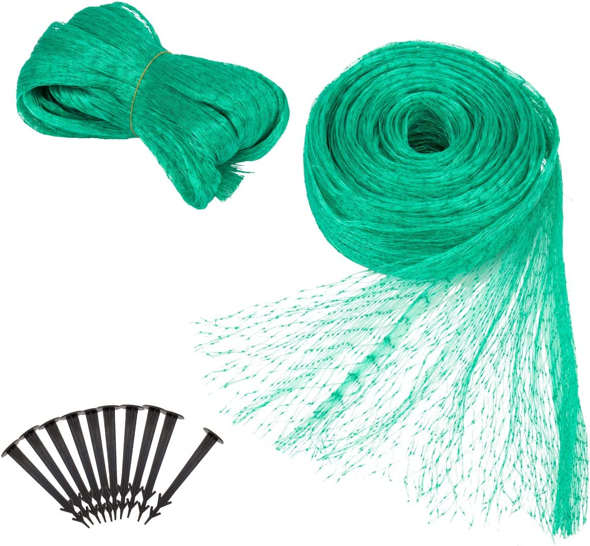 Apipi 2 Pack 13Ft x 33 Ft Anti Bird Netting -Green Anti Bird Protection Net Mesh – Garden Plant Netting to Protect Vegetable Fruit from Rodents Birds Deer and Other Pests