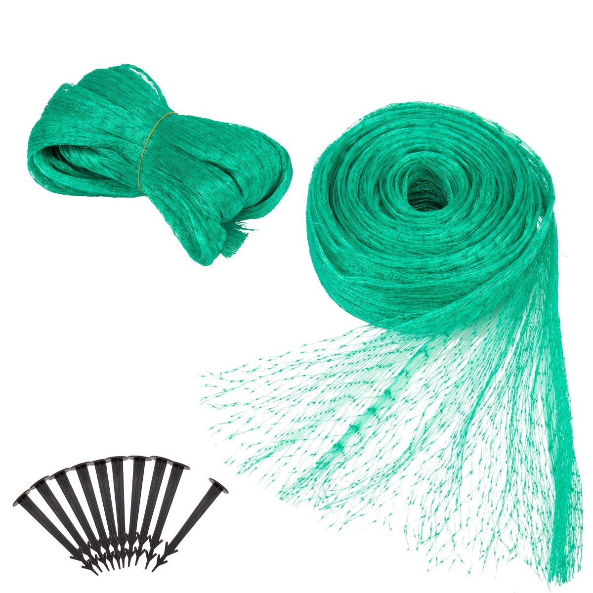 Apipi 2 pack 13Ft x 33 Ft Anti Bird Netting -Green Anti Bird Protection Net Mesh- Garden Plant Netting to Protect vegetable Fruit from Rodents Birds Deer and Other Pests