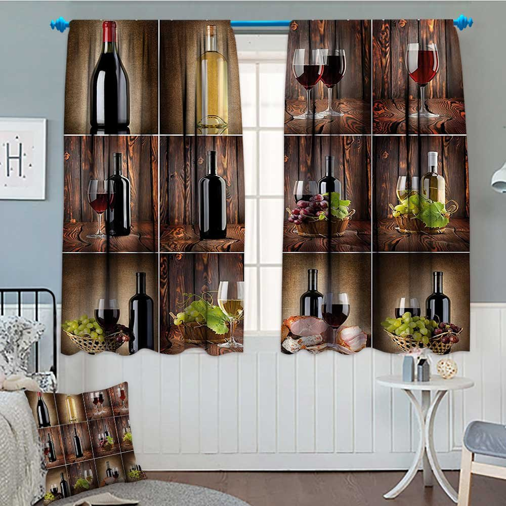 "Wine Window Curtain Drape Wine Themed Collage on Wooden Backdrop with Grapes and Meat Rustic Country Drink Decorative Curtains For Living Room 52""x63"" Brown Black Red"