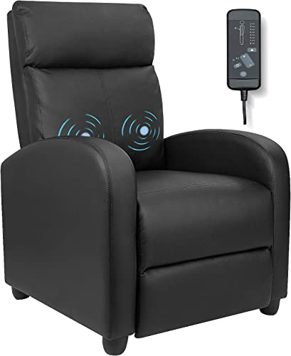 Furniwell Recliner Chair Massage Home Theater Seating Wing Back Pu Leather Modern Single Living Room Reclining Sofa