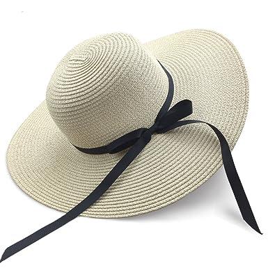 e4399ca6e49 Chapter Seven Women s Sun Hat Floppy Foldable Bowknot Large Wide Brim Straw  Hat Summer Beach Cap UV Protection UPF50 (Beige)(Size  M)  Amazon.co.uk  ...