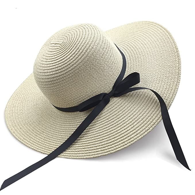 c5cb038612c Women s Sun Hat Floppy Foldable Bowknot Large Wide Brim Straw Hat Summer  Beach Cap UV Protection