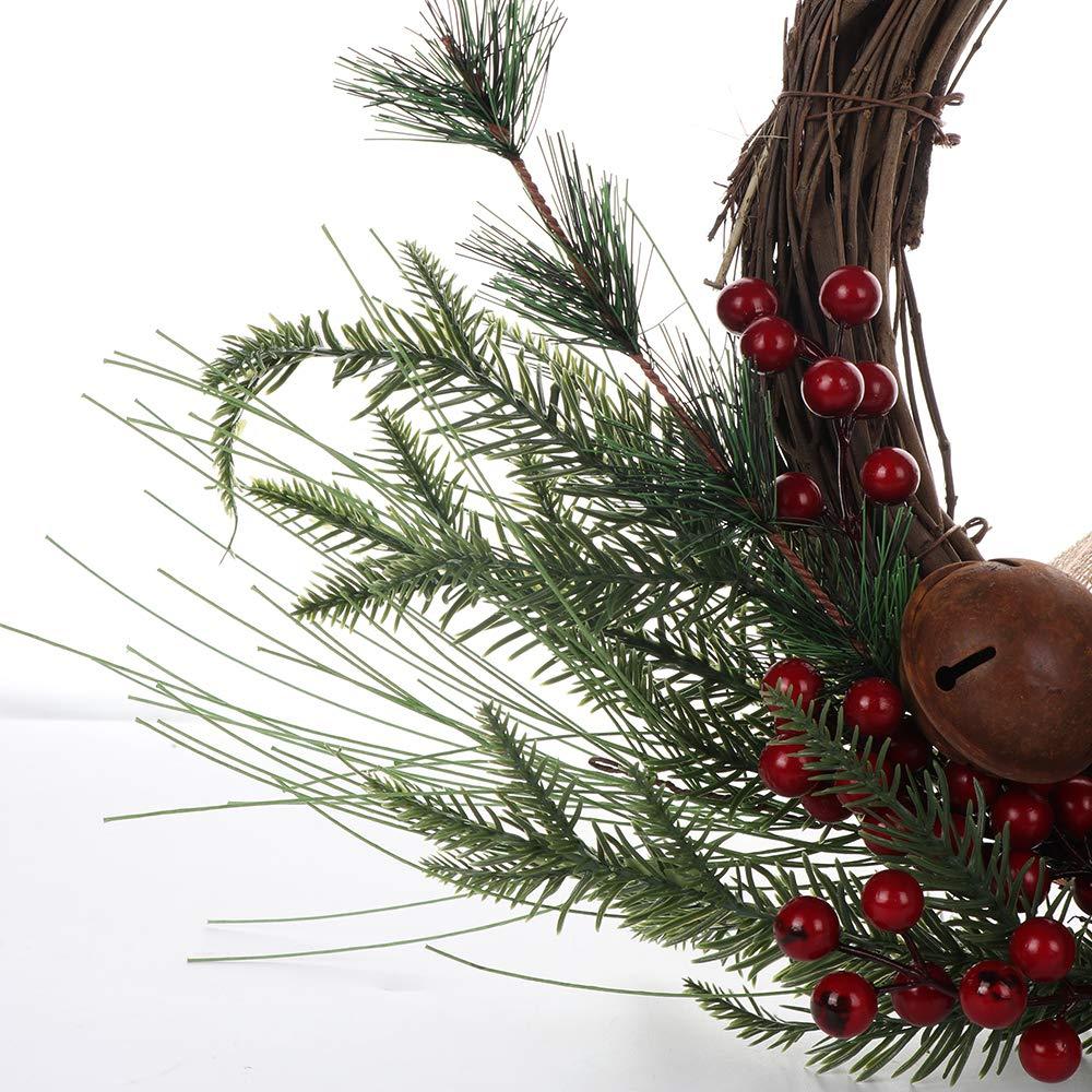Adorno de Pared para Navidad o Exteriores Corona Decorativa para Puerta Delantera con Campana 50,8 cm Guirnalda de Navidad Artificial Asodomo