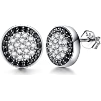 Men Earrings Fashion 925 Sterling Silver Stud Earrings with White/Black Micro Pave Cubic Zirconia, Diameter 10mm