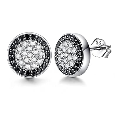 374c5665f Lydreewam Men Earrings Fashion 925 Sterling Silver Stud Earrings with  White/Black Micro Pave Cubic Zirconia, Diameter 10mm: Amazon.co.uk:  Jewellery