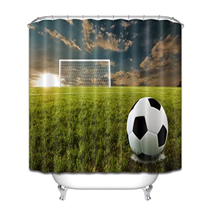 LB Soccer Shower CurtainSports Decor Collection72x72 Inches World Cup Theme Football Fabric