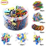 MONODY Assorted Paper Clips Mini Small Medium Jumbo Binder Clips Paper Clamps and Rubber Bands for Office