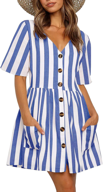 REORIA Women Short Sleeve V Neck Button Down Causal Loose Swing Shift Dresses Boho Babydoll Dress
