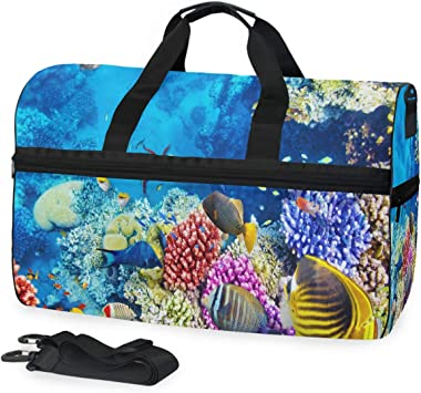 Sea Travel Duffel Bag Luggage Sports Gym Bag With Shoes Compartment Large Capacity Lightweight Duffle Bag For Men Women