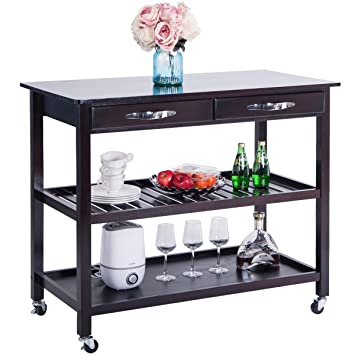 Harper&Bright Designs Kitchen Island Cart with Wheels Drawers & Shelves  Storage Shelf(Espresso)