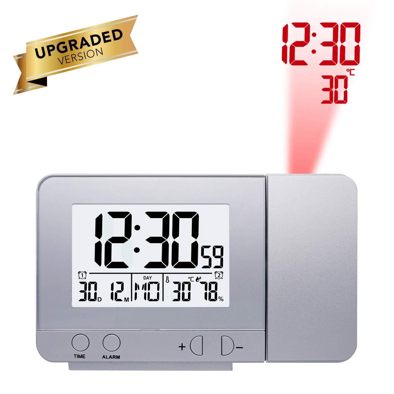 ONEVER - Reloj Despertador Giratorio con luz de Fondo (indicador ...