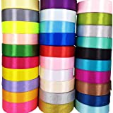 "Chenkou Craft 40 Yards Single Side 1""(25mm) Solid Satin Ribbon Ribbons Assorted Craft Bow Party Decoration Packing Ribbons (1"
