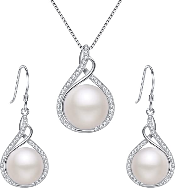 526df49553 EleQueen 925 Sterling Silver CZ Cream Freshwater Cultured Pearl Infinity Bridal  Necklace Hook Earrings Set Clear