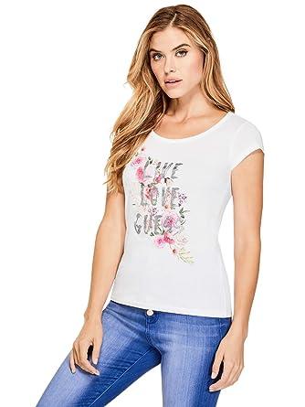 c177bc92 GUESS Factory Women's Iris Live Love Graphic Tee at Amazon Women's ...