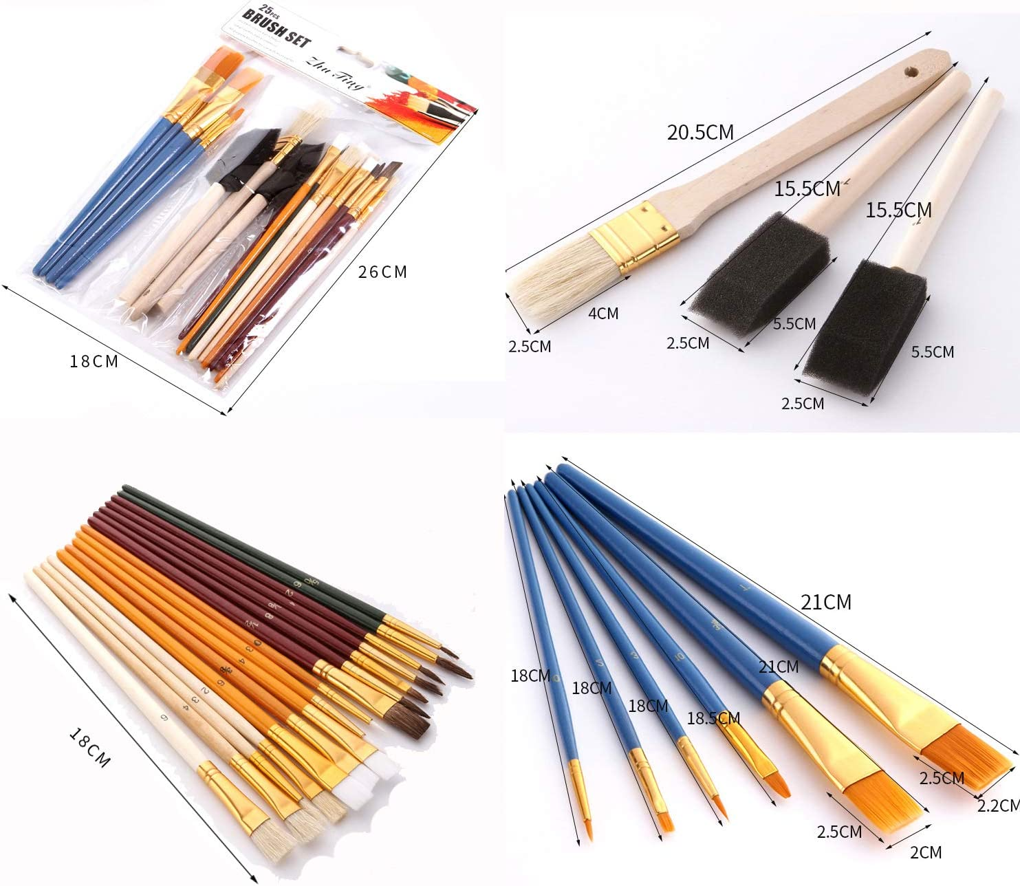 25pcs Multifunctional Oil Paint Brushes Set Colorful Drawing Brush Art Tools Kit Painting Supplies Brushes Great Present for Children Boys and Girls Paint Learning Ucradle Oil Paint Brushes Set