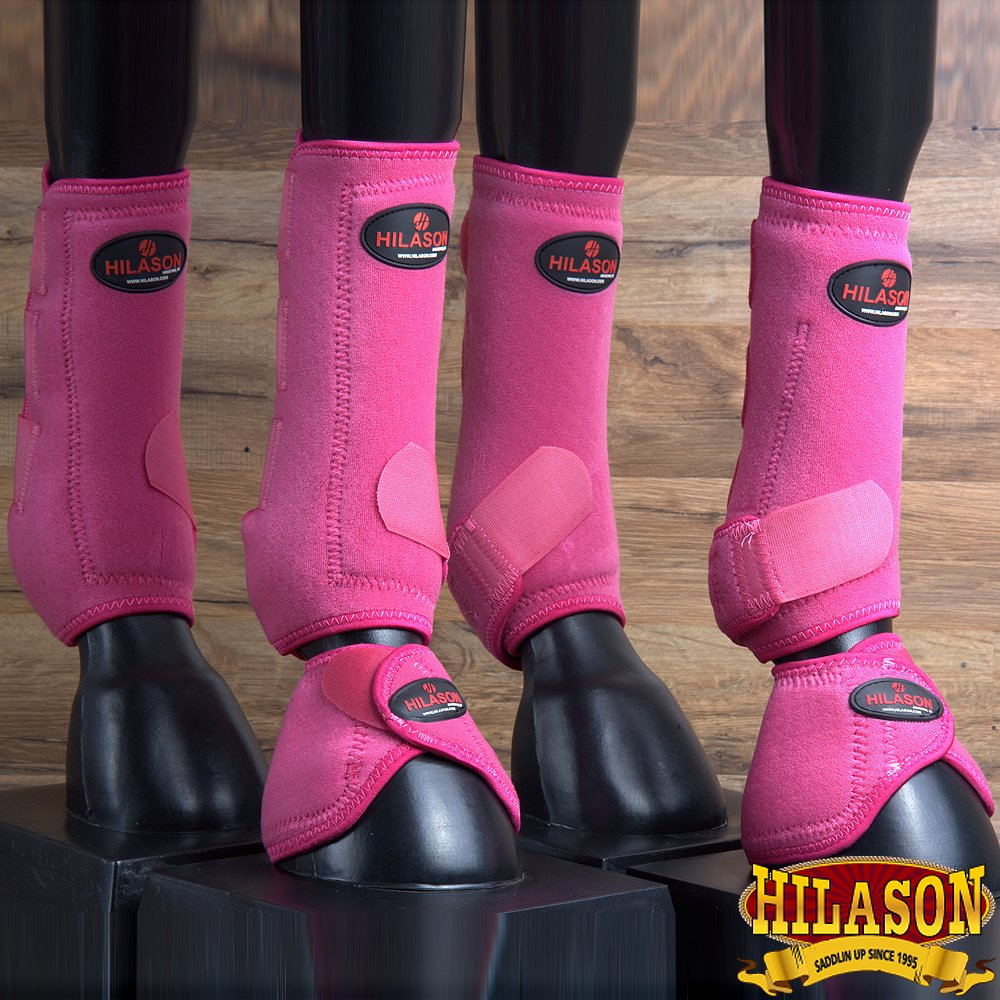 6 PACK HILASON WESTERN HORSE FRONT REAR HIND SPORT BOOT BELL BOOT PINK