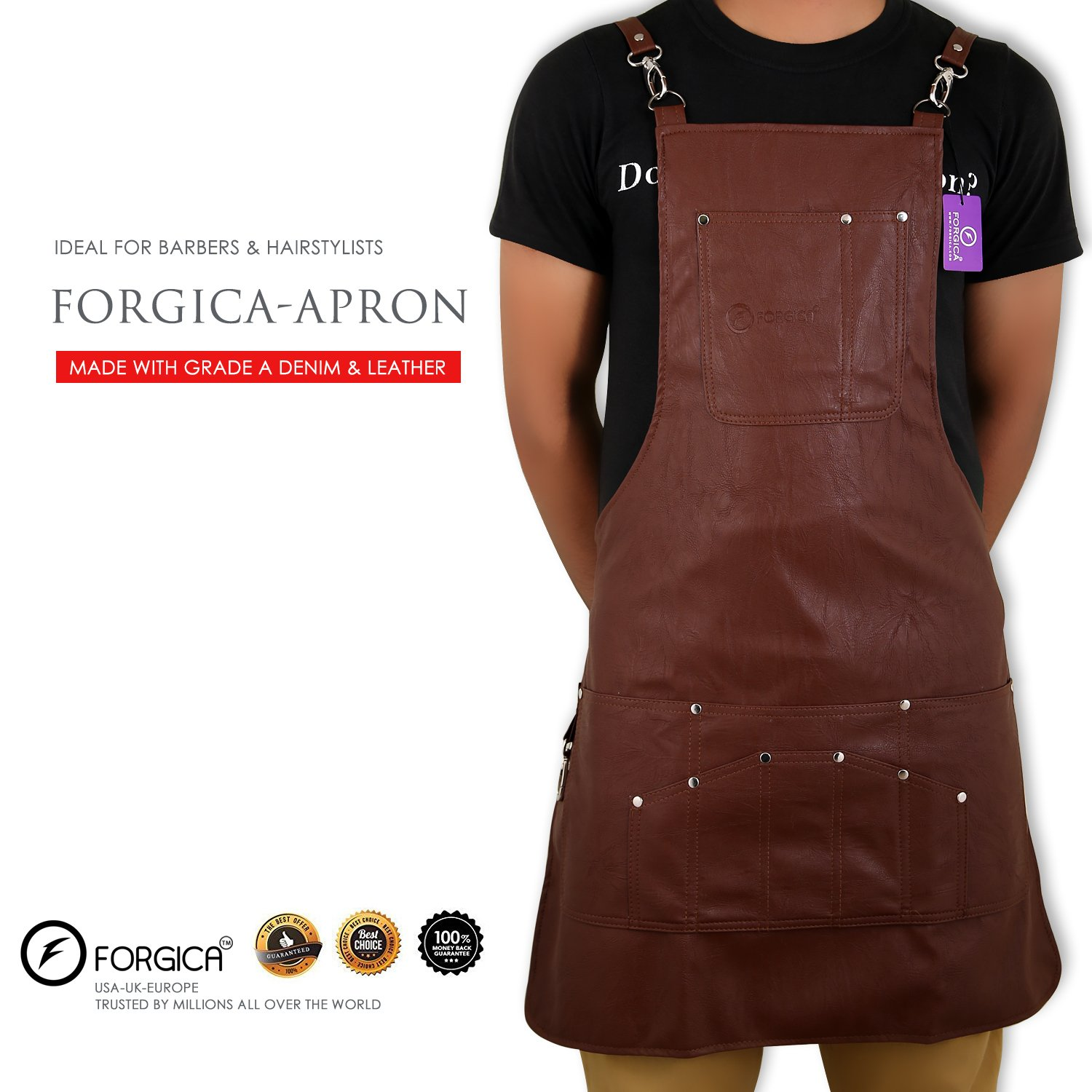 FORGICA Professional PU Leather Aprons For Men Hairdressing Barber Apron Cape for Salon Hairstylist - Multiuse, Adjustable with 8 pockets, Aprons For Women Heavy Duty work Carpenters, Hairdresser, by Forgica