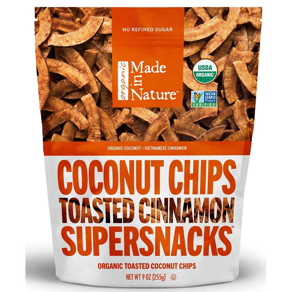 Made in Nature Organic Toasted Coconut Chips, Vietnamese Cinnamon, Vegan Snack, 3 Ounce Bags, 6 Count