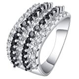 Jixin4you Women Warp Plated Sterling Silver Wedding Band Filled Ring Black 10