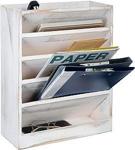 Vintage Rustic Wooden 5 Slot Office Desk or Distressed Torched Wood Wall Mounted Hanging Document File Folder Racks & Holders,Magazine Rack,Mail Holder Organizer (Washed White)