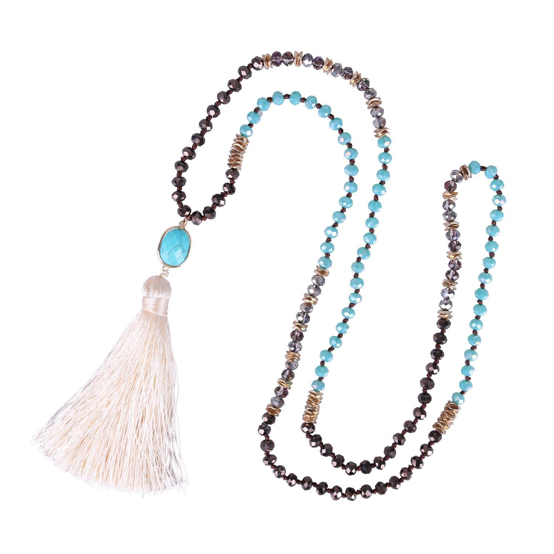 KELITCH 6MM Crysta AB Beaded Long Necklace Color Tassel Agate Pendant Women Strand Bracelet For Summer (Blue)